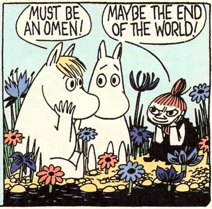 An omen, from a 1958 Moomin comic strip by Tove and Lars Jansson, recently collected and colorized in Drawn & Quarterly's Moomin and the Comet.