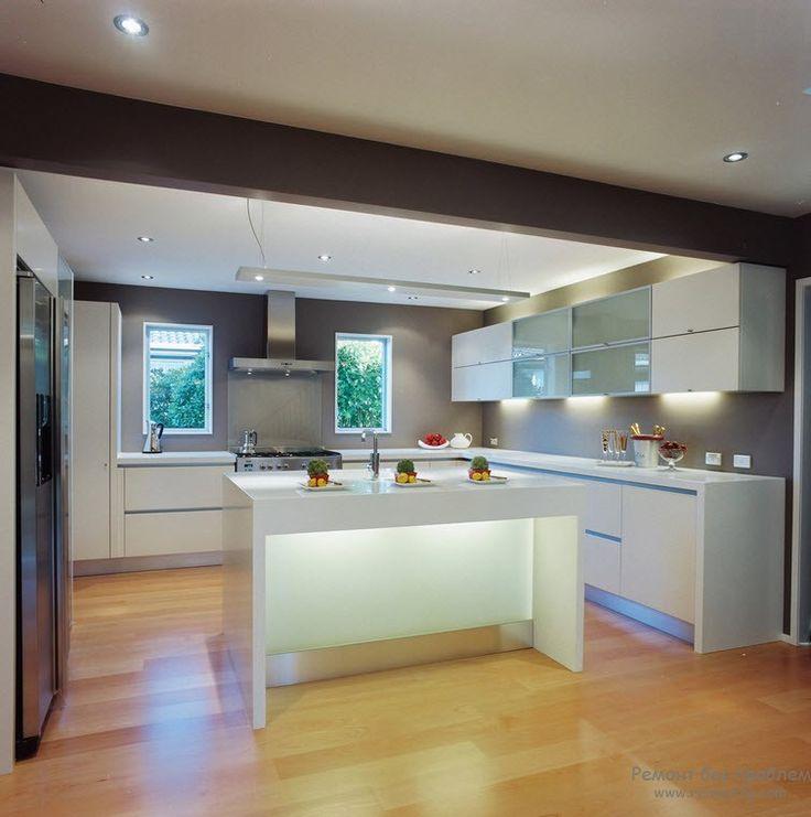 Гипсокартонный потолок на кухне: дизайн интерьера с подвесным потолком