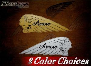 2 Indian Motorcycle ARROW War Bonnet Gold or Silver Vinyl Stickers