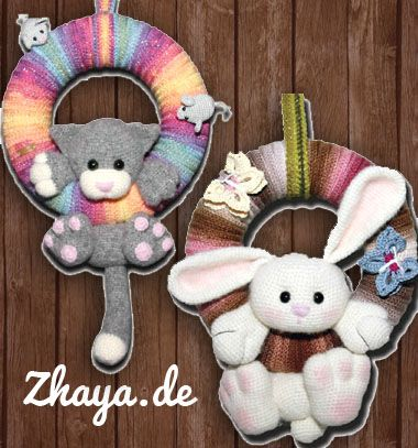 Adorable amigurumi bunny and cat wreath (free crochet pattern) // Amigurumi nyuszi és cica koszorú (ingyenes magyar horgolásminta) // Mindy - craft tutorial collection // #crafts #DIY #craftTutorial #tutorial