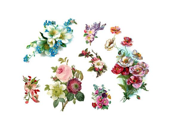 vintage flowers 7 temporary tattoos mothers day by pepperink, $15.00