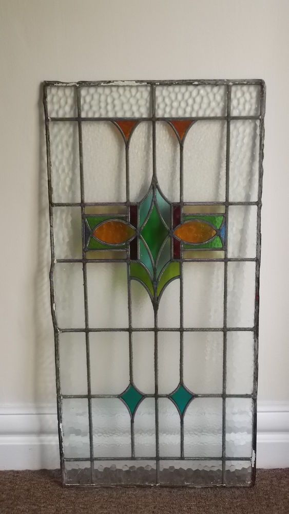 Reclaimed Art Deco Stained Glass door panel/window. 22x44 inches