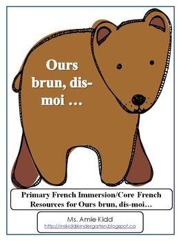 """The following document is in French. It is a 65-page """"Brown Bear, Brown Bear"""" unit, which focuses on words and expressions used in the story, animals, colours and sequencing. It includes vocabulary, word wall words, posters (both in black and white and colour), picture cards for games such as Bang/Go Fish, wordwork sheets, suggestions for classroom collaborative books with title pages, worksheets that focus on writing colour words, a worksheet that focuses on drawing given words, a colouring…"""