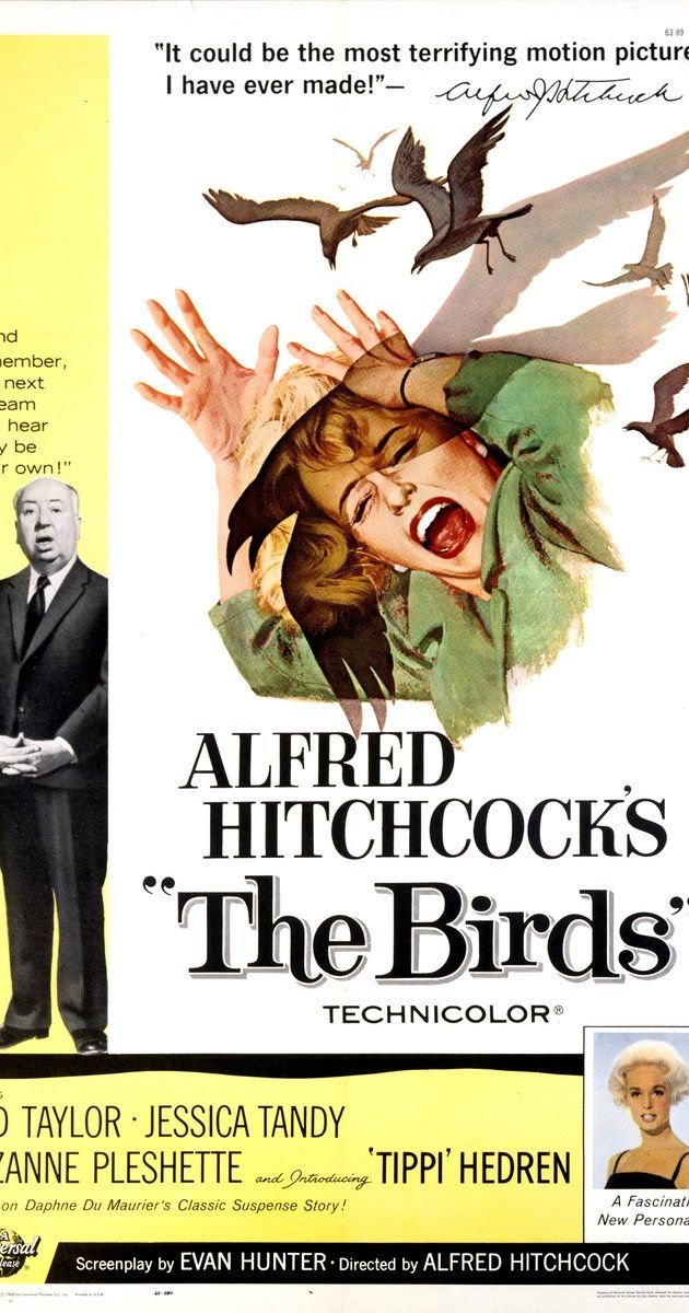 Directed by Alfred Hitchcock.  With Rod Taylor, Tippi Hedren, Suzanne Pleshette, Jessica Tandy. A wealthy San Francisco socialite pursues a potential boyfriend to a small Northern California town that slowly takes a turn for the bizarre when birds of all kinds suddenly begin to attack people.