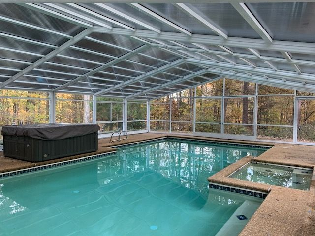 Georgia Pool Enclosure Manufactured By Roll A Cover Pool Enclosures Residential Pool Pools Backyard Inground