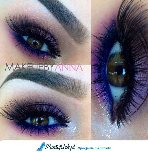 Piękny makijaż w fioletach