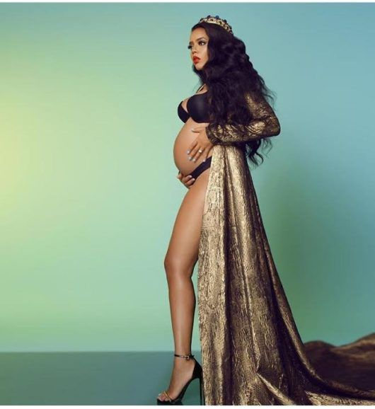 Hot or Hmm…: Angela Simmons's Maternity Shoot Stello Naomi Gold Dress and Vauje…