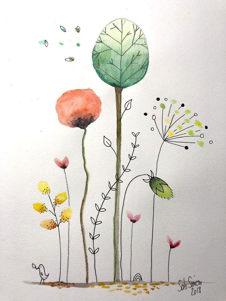 Aquarellstifte Caran D Ache Cecile Hudrisier Stil Watercolor Watercolor Watercolorpencils Kunstler Aquarellmalerei Aquarell Karte Aquarell