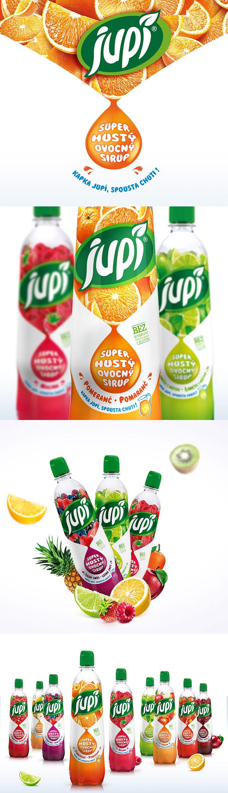 Packaging Design Jupí - Extra Hustý by Fiala&Šebek #syrup #fruit