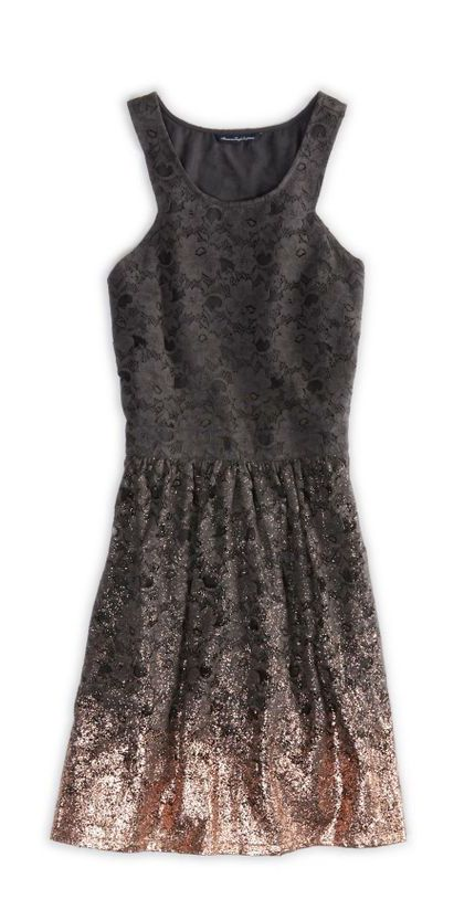 Black Lacey Dress Dipped in Rose Gold Sparkles