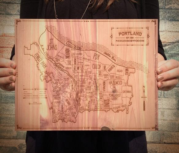 Carved Wooden Northwest  by Neighborwoods by Hyperakt: Portland Neighborhood, Neighborhood Maps, Portland Neighborwood, Aromat Cedar, Gifts Idea, Products, Woods Art, Portland Oregon, Portland Maps