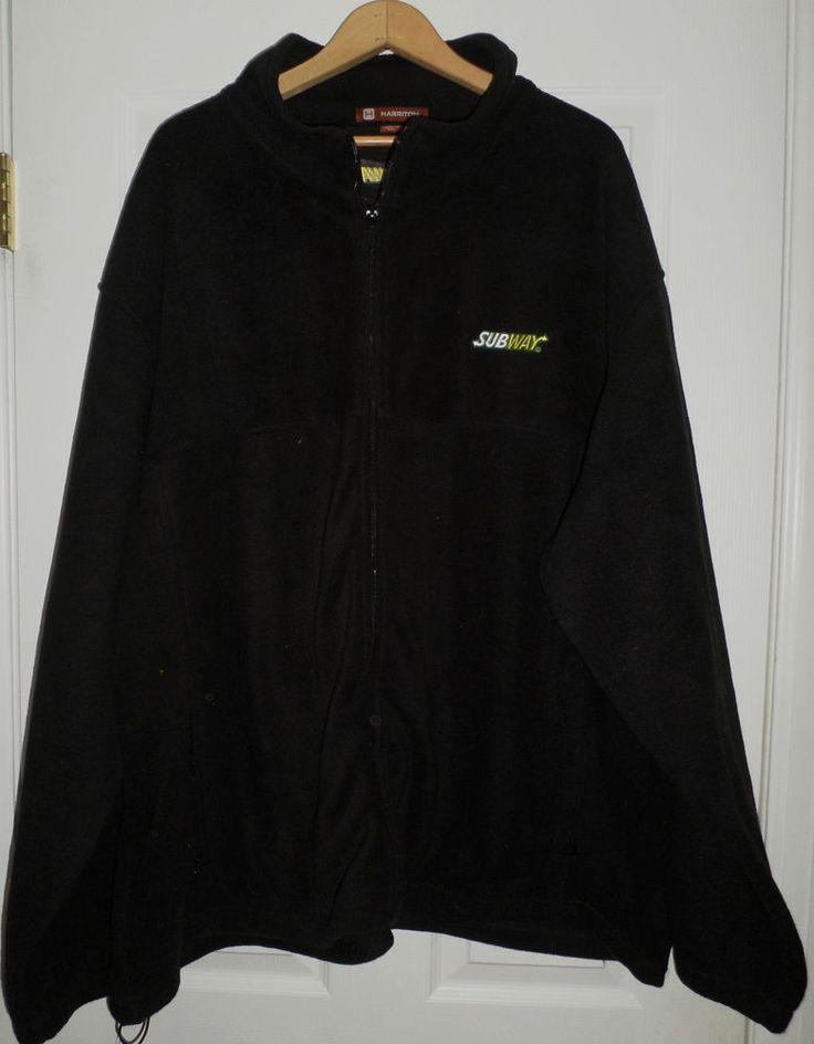 Men&39s Black HARRITON SUBWAY Embroidered Logo Fleece Jacket Size