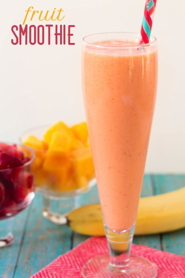 Delicious Fruit Smoothie recipe with mangos, bananas, strawberries and more!