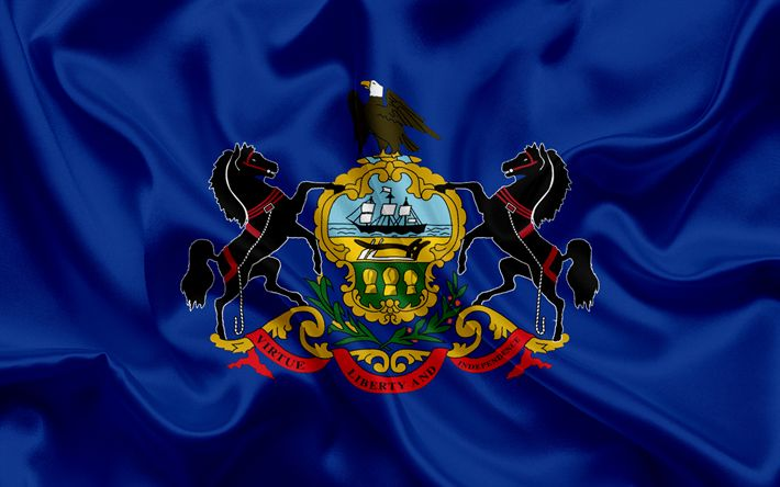 Download wallpapers Pennsylvania flag, Commonwealth of Pennsylvania, flags of States, USA, blue silk, Pennsylvania coat of arms
