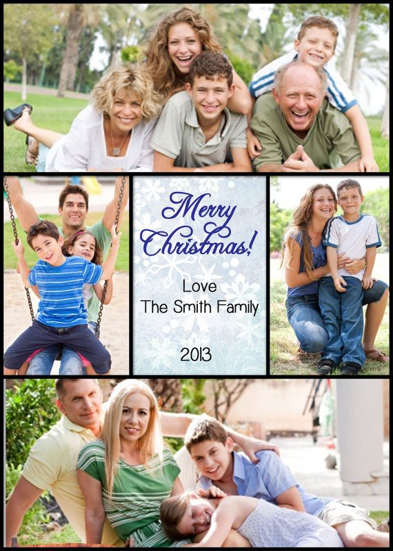 Get a head start on your Christmas cards with a family photo announcement! Such a great idea to give to family with your holiday cards! Snowflake theme. Christmas Holiday Photo Announcement by whisperingmists, $12.00