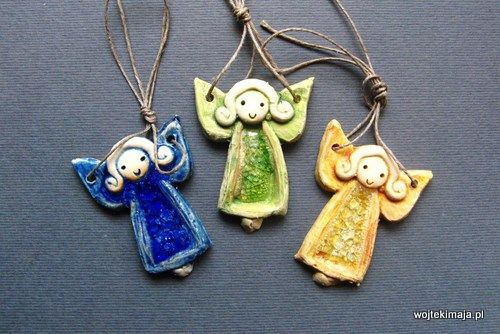 ceramic angel ornaments with fused glass