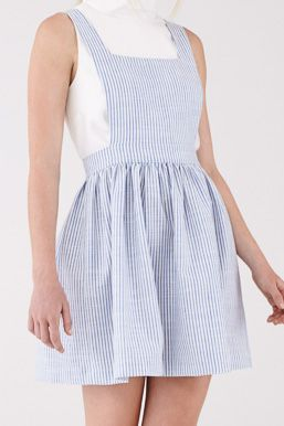 Apron Dress in Blue Stripe