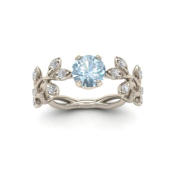 Unique Leaf Aquamarine Engagement ring  Inspired from nature, this ring is…
