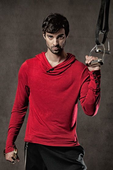 Devon Top - Long sleeved hooded tee with antique metal buttons on the neck and sleeves. #fashion #mens #hood