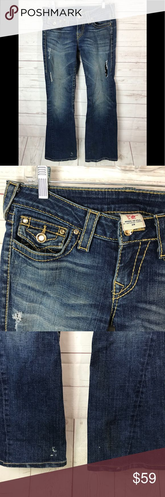 True Religion Jean size 29 One button on the left pocket is missing see last picture  White stain as shown other in good shape Lot Of uses left. Non smoke fast shipping True Religion Jeans Flare & Wide Leg