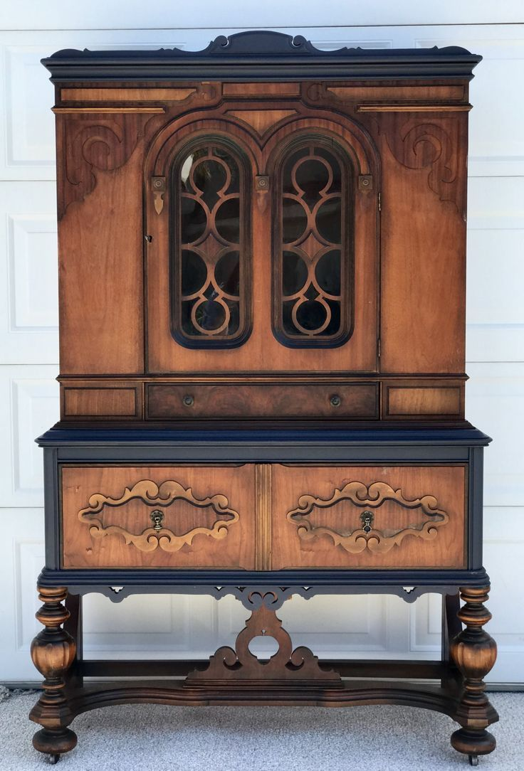 I Added Just The Perfect Amount Of In The Navy To This Stunning Antique Cabinet Paint Furniture Blue Painted Furniture Painted Furniture