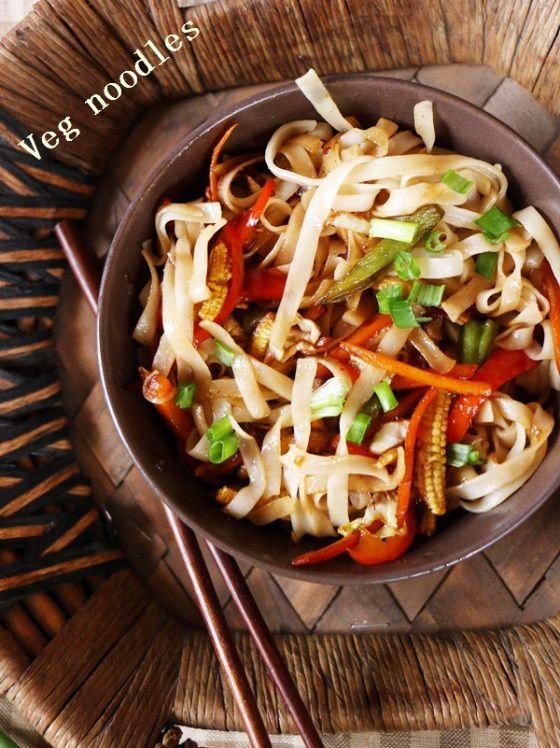 Lunch ideas: veg noodles with rice noodles!  Recipe @ http://cookclickndevour.com/veg-noodles-recipe  #cookclickndevour #vegan #lunchideas