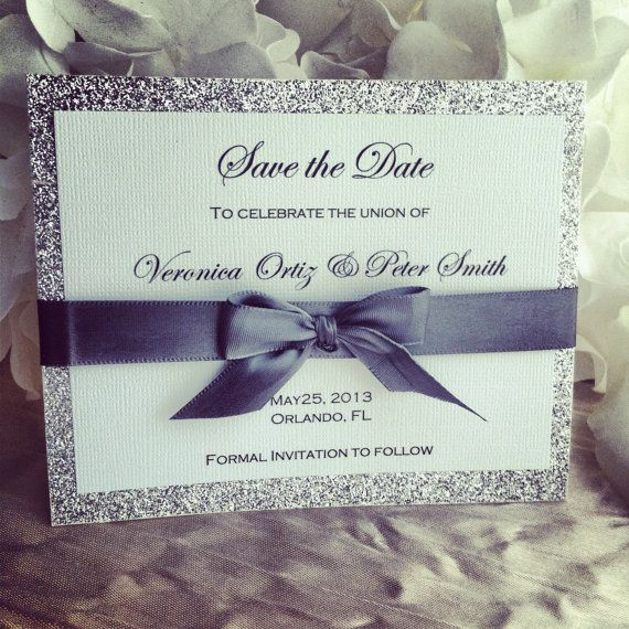 Silver ribbon & glitter save the date great for by VPElegance, $3.00