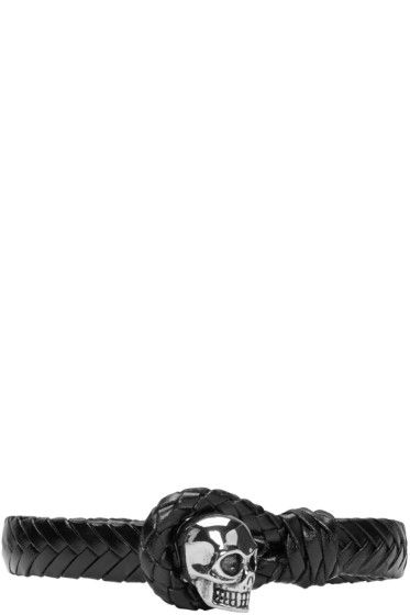 Alexander McQueen - ブラック ブレイド スカル ブレスレット