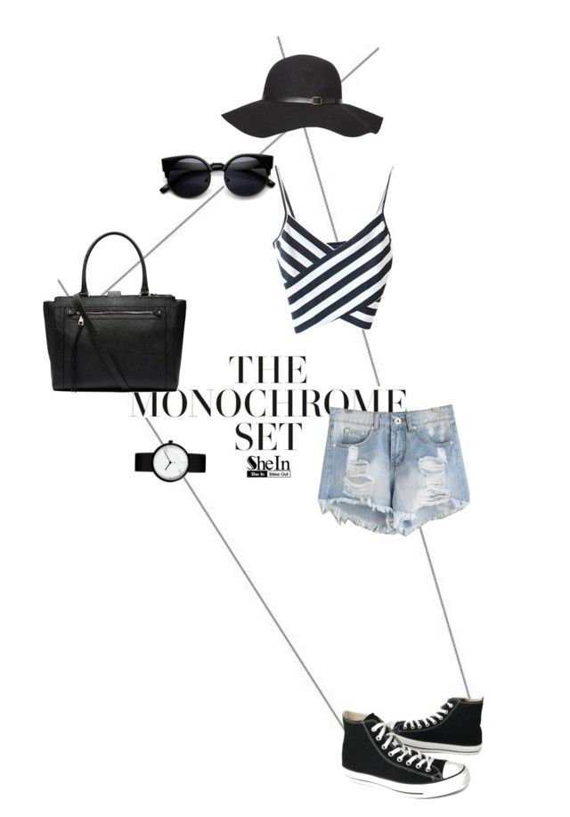 """""""The Monochrome Set"""" by prthv ❤ liked on Polyvore featuring Dorothy Perkins, Witchery, Converse, monochrome and shein"""
