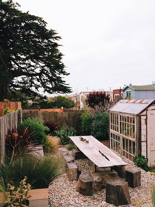 Table + stumps / / the general store's 'backyard' / sfgirlbybay