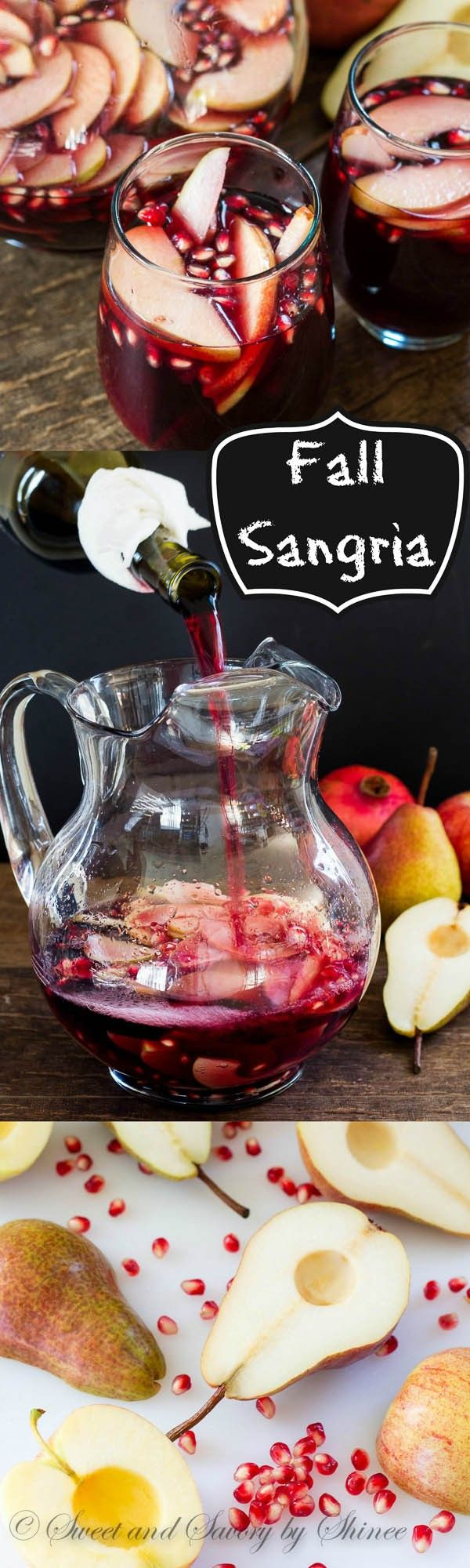 My fall sangria, filled with apples, pears and pomegranates, is absolutely delicious drink you can enjoy this wonderful autumn weekend!