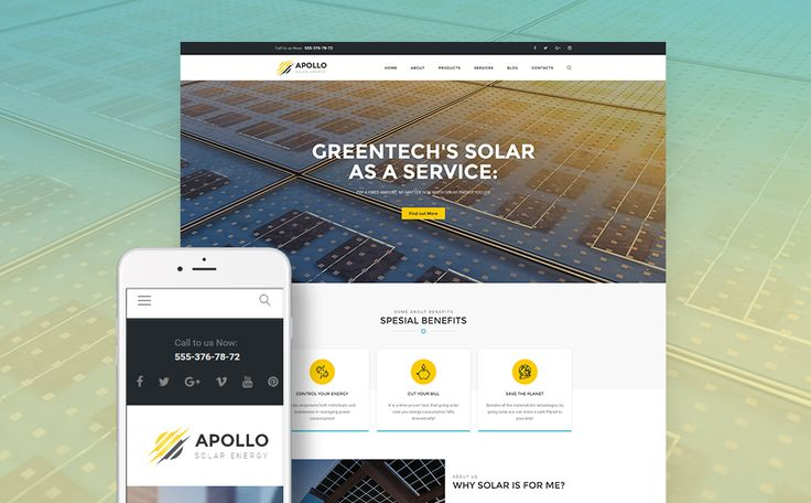 Best 12 Environmental & Clean Energy WordPress Themes (Solar, Wind and Recycling) - Apollo (theme for WordPress) Item Picture