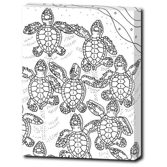Baby Sea Turtles Color Coastal Art Wrapped Canvas Colorable
