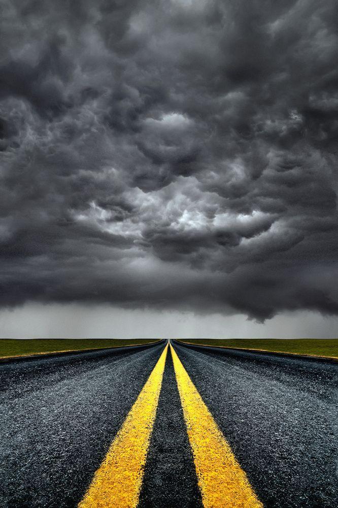 ~~Trouble Ahead   stormy skies loom ahead on the road    by Carlos Gotay~~