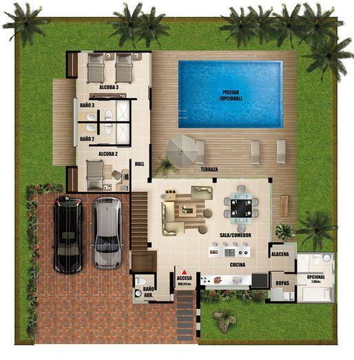 Plano de casa moderna de dos pisos con piscina