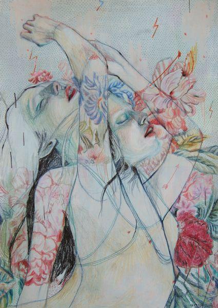 Alexandra Levasseur (b. 1982, Shawinigan, Qc, Canada) - Dancer III, 2013 Drawings: Acrylics, Colored Pencils on Paper