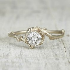 5mm Naples Engagement Ring | 14kt Gold and White Sapphire, Moissanite or Diamond Nature-Inspired Twig Engagement Ring