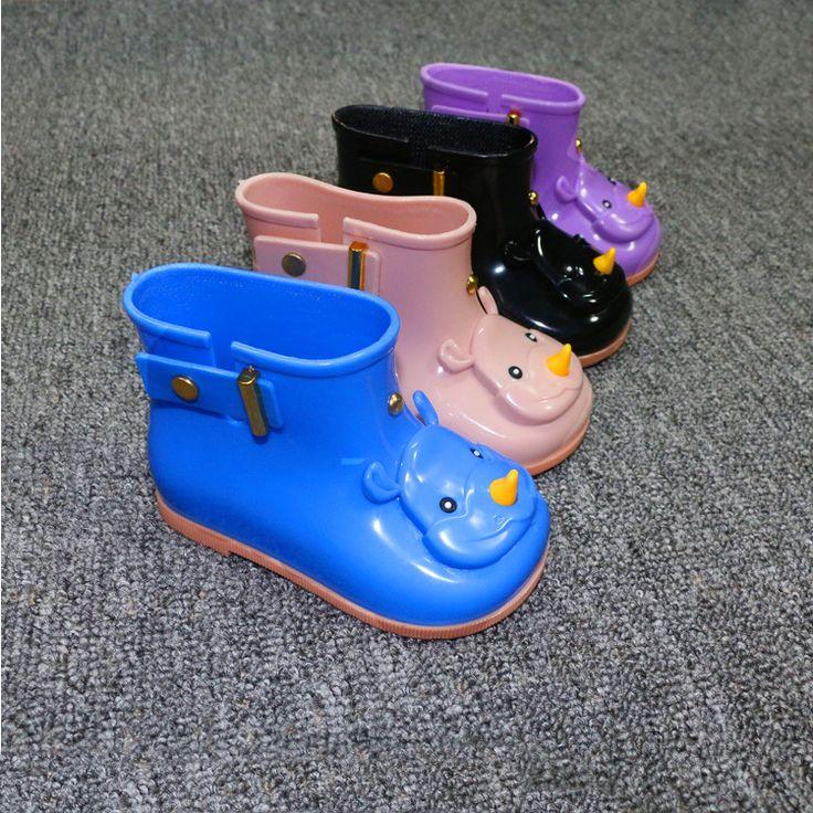 >> Click to Buy << 2017 fashion rhinoceros Mini Melissa Rain boots Children Boots Boys Girls Melissa Boots Jelly 4 Color Cartoon Boots 15-17.5cm #Affiliate