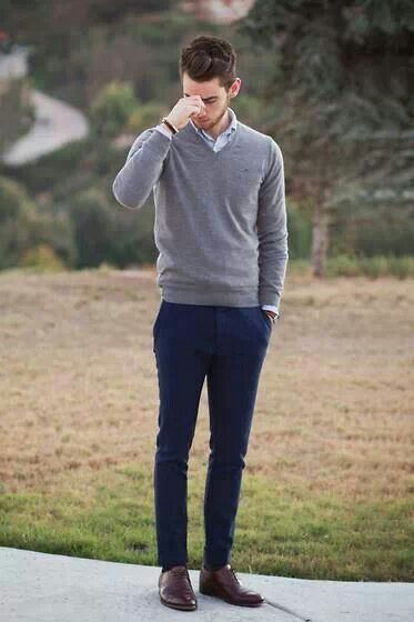 simple... blue pants + grey sweater + brown shoes + pale blue button down