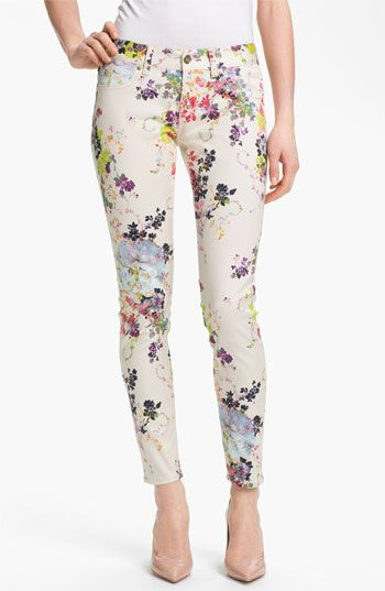 Ted Baker London Summer Bloom Print Skinny Stretch Crop Jeans (Cream) available at #Nordstrom