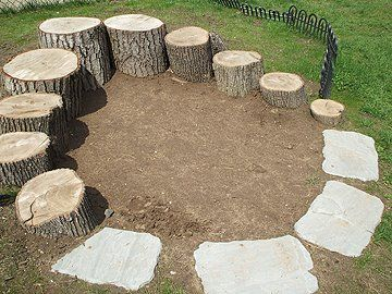 circle of stepping stones and stumps, via Our Day Our Journey: Digging and digging and digging and digging