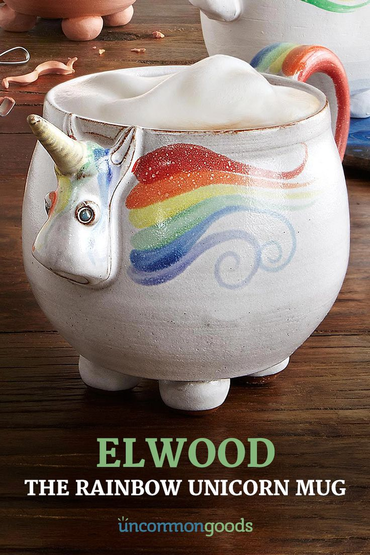 From a magical forest of fairy nymphs and shimmering pools of water promising eternal youth, UncommonGoods majestically brings you Elwood, the Rainbow Unicorn Mug. Handmade by potter JoAnn Stratakos, this adorably rotund unicorn features ample room for your favorite hot beverage along with charming details, such as inquisitive blue eyes, a hoofed base, and a glittery rainbow mane unfurling from his mystical horn. Visit UncommonGoods and add some enchantment you your routine.