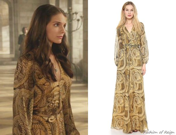 "fashion-of-reign:  In the episode 2x01 (""The Plague"") Lady Kenna wears this sold out Issa Snake-Printed Bell Sleeve Gown in Sulphur."