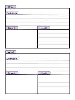 Vocabulary Journal template.  Teaching Madness: July 2012