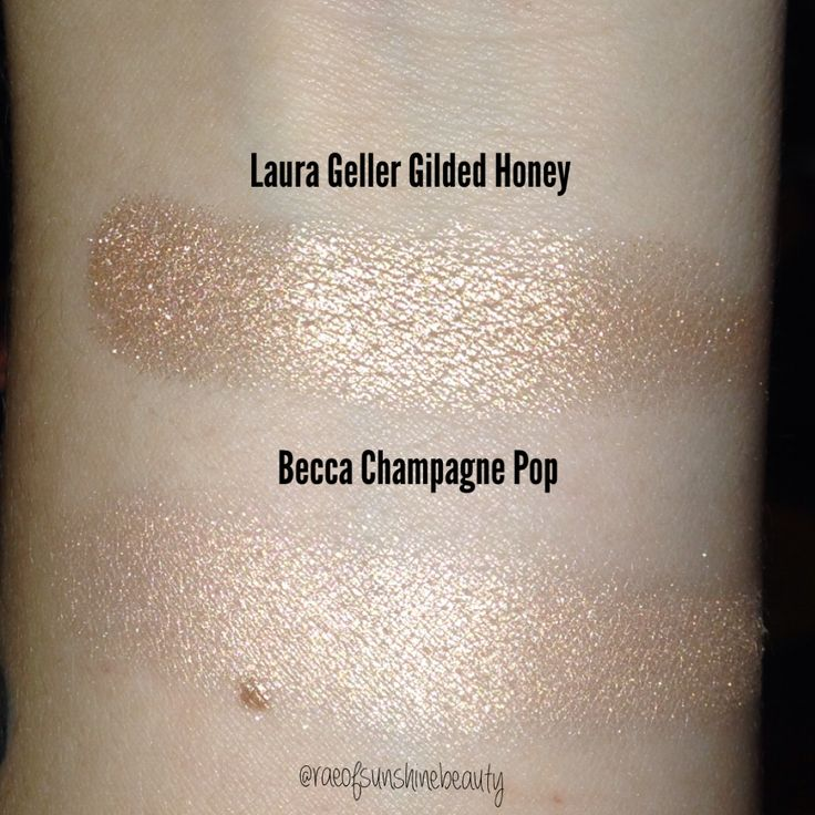 Swatches of the Laura Geller Highlight in Gilded Honey & The Becca Cosmetics Champagne [Jaclyn Hill Collab] #raeofsunshinebeauty