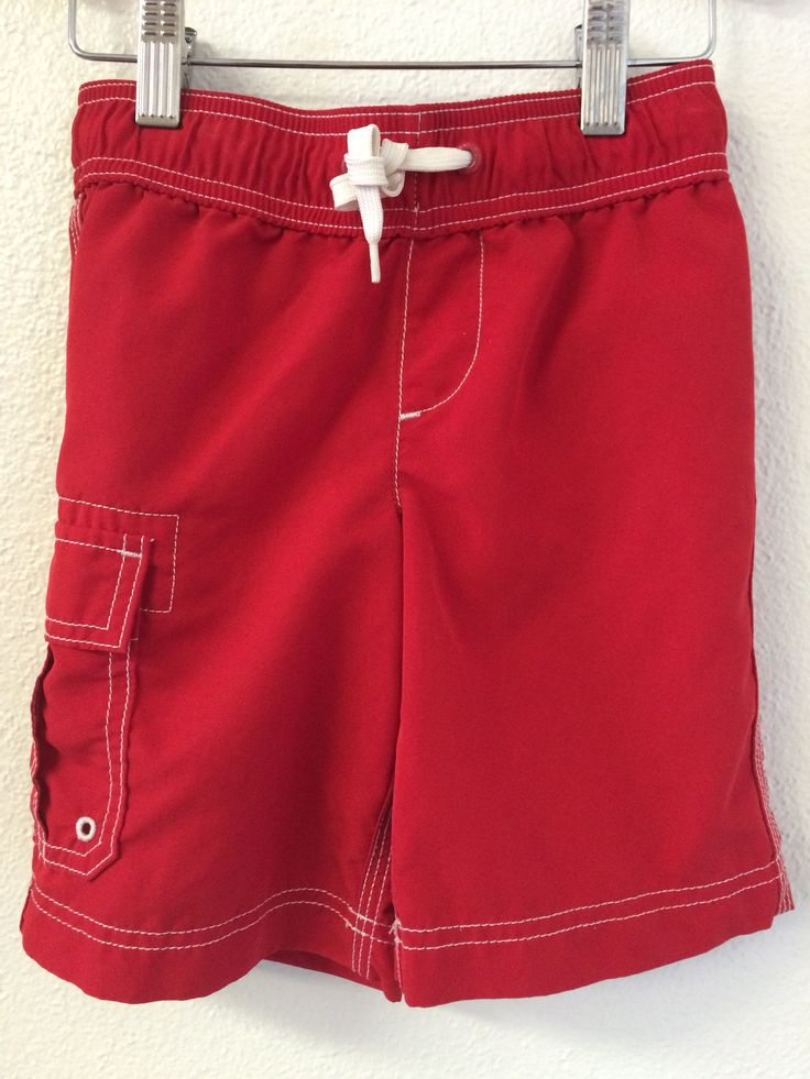 4T Lands End Kids Red Swim Trunks