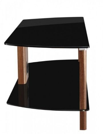 Alphason Century ADCE1500-BLK Walnut And Black Glass TV Stand - The new Alphason Century 1500mm wide Walnut and Black Glass TV Stand has a simple and efficient design. This stand is suitable for use with TV's up to 72 inch and 50Kg. Cables can be concealed using the rear cable management panel.