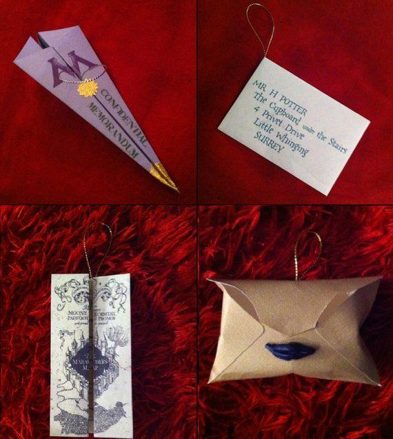 Conjunto de 4 Harry Potter Letras Navidad por averypotterchristmas