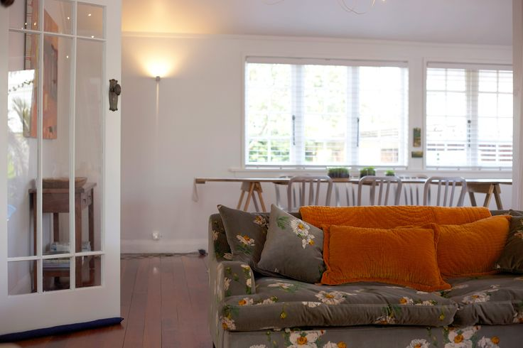 #dining room #vintage table #orange velvet cushions. Staging by Places and Graces.