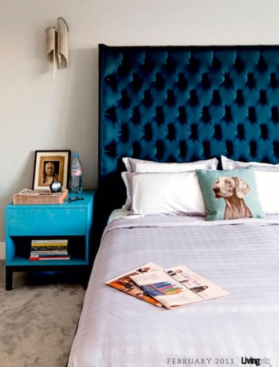 Deep turquoise, tufted headboard with turquoise nightstand. Living Etc. Feb. 2013